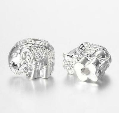 4 TIBETAN SILVER ELEPHANT SPACER BEADS CHARMS 12mm HOLE 2mm TOP QUALITY TS79