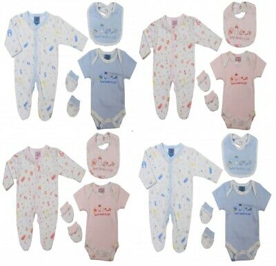 Baby Prem Girls Boys Sleepsuit Bib Hat Babygrow Layette Gift Set Romper Bodysuit