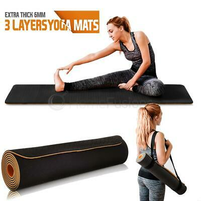 Yoga Mat Pilates Gym Exercise Carry Strap 6mm Thick Large 6 Layer Comfortable UK