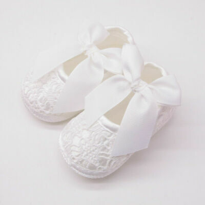 NEW Baby Girl White Satin Lace Christening Pre-walker Shoes 0-6-9-12months Size