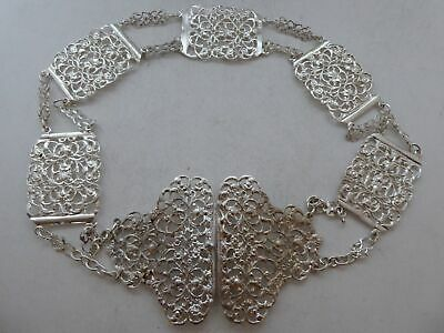 Victorian Chester 1898 Hallmarked Solid Silver Nurses Belt and Buckle