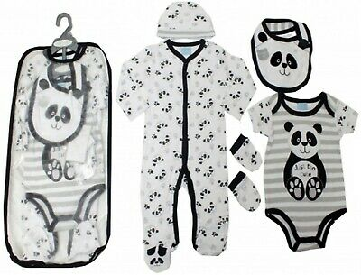 Baby Girls Boys Sleepsuit Bib Hat Babygrow Layette Gift Bag Set Romper Bodysuit