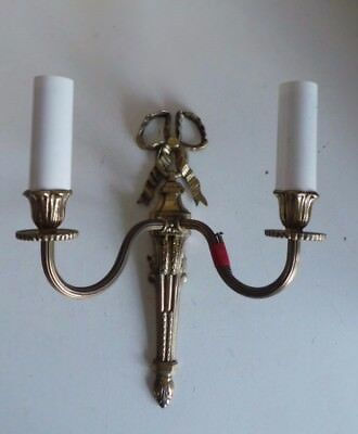 Old French Style Gold Brass Sconce Wall Light Double Lamp Fixture Furniture Bow