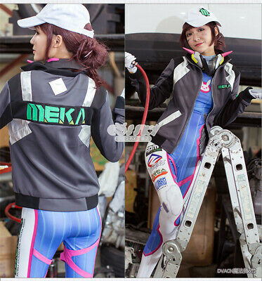 a3ecdee931b OW Overwatch Shooting Star DVA Cosplay Costume Jacket Hana Song Meka Coat  Hat