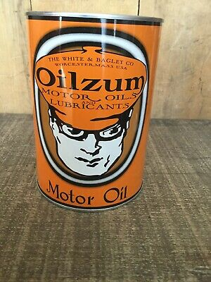 Oilzum Quart Oil Can Coin Bank with Coin Slot, Ford & Motorcycle Oil