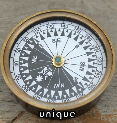 Nautical Marine Brass Flat Compass Vintage Maritime Navigational Gift Astrolabe