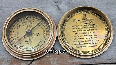 Antique Style Poem Compass Brass Yellow Submarine Directional Royal Astrolabe