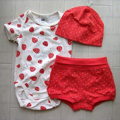 a3914ae22a66d H&M organic cotton baby girl red strawberry bodysuit shorts hat 3pc set