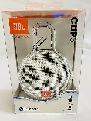 JBL Clip 3 White Waterproof Portable Bluetooth Speaker New