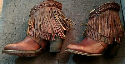 aabc85159f Freebird By Steven Madden Tonto Wine Boots Size 9 Fringe Leather Country  Cowgirl