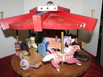Vtg.Hand Made Musical Wooden Carnival Carousel Folk Art Plays Carousel Waltz