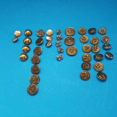 Vintage Lot of 40 Metal Picture Solid Buttons Tinted Brass Various Sizes