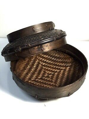 """Antique Chinese Woven 2-Pc Covered Basket - 10"""" Diameter - Excellent Condition"""