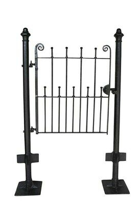 Pedestrian Antique Wrought Iron Gate & Cast Iron Posts - Outdoor Reclaimed