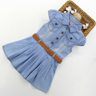 Girls Summer Dress Casual Blue Denim Kids Short Sleeve Dresses Age 3-14 Years