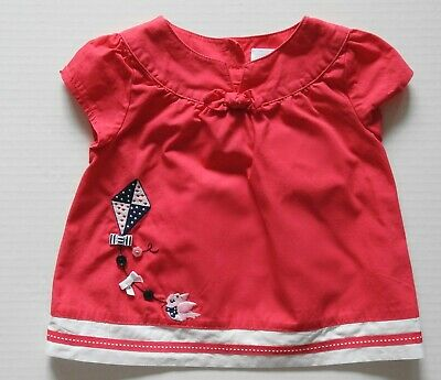 4446a2002 GYMBOREE BLOOMING NAUTICAL girl and flower short sleeve top size 3-6 ...
