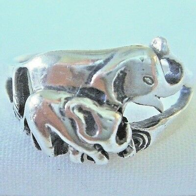 .925 Sterling Silver Mama & Baby Elephant Ring, Trunks Up!, Size 7  - SHIPS FAST
