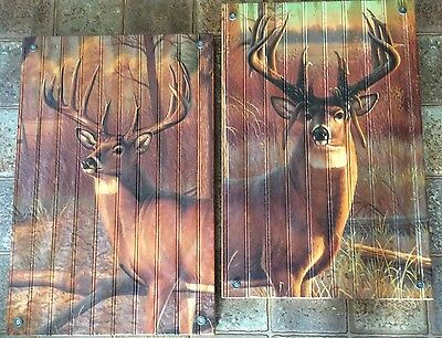 2 pc pairing of Wood Graphixs Deer Buck Cabin Rustic Wall Art