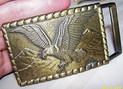 VINTAGE 1980s **AMERICAN BALD EAGLE** ARTWORK SOLID BRASS BELT BUCKLE