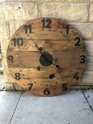 🕰Large Wooden Cable Drum Wall Clock, Vintage,Pallet,Heavy,Rustic 🕰