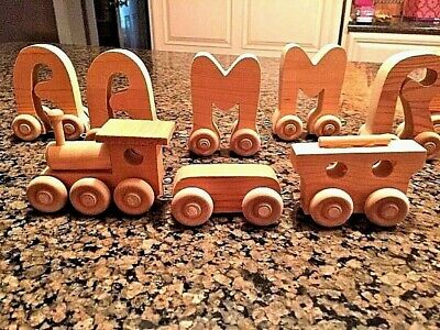 Handcrafted Wooden Toy Train / Wood Letters 10Pcs