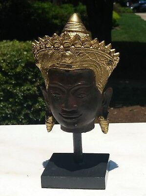Thailand Bronze finish  Crowned Buddha Head Ayutthaya Thailand  with stand