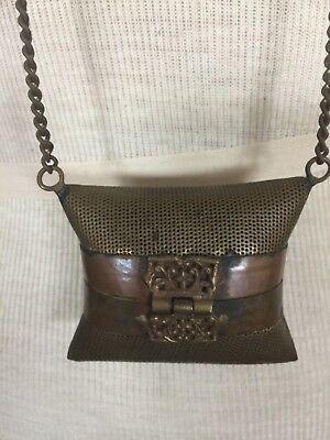 Antique Victorian Edwardian Purse with Ornate clasp Hammered Brass gold color