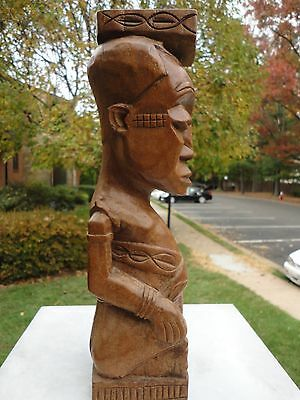 "African Hand carving art Wood statue Kuba King doll ""Tribal art Rare KUBA NDOP"