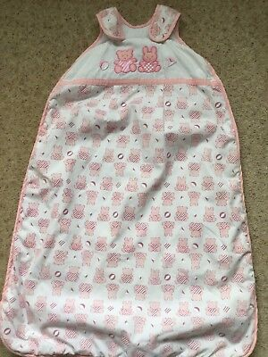 Baby Girls Lovely Teddy And Rabbit Print Sleeping Bag Age 0-6 Months  Ex Cond