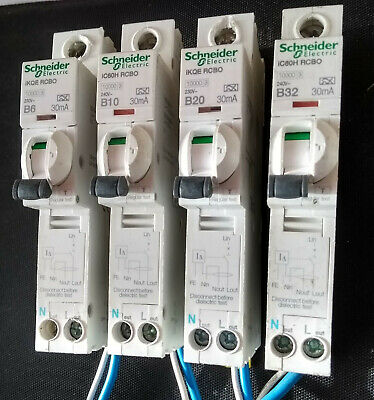 Schneider Acti-9  RCBO's 30mA iC60H  32A, 20A, 10A, 6A. Type B ! Live Tested !