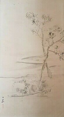 A Lovely Meiji period Sumi-e Ink Painting Of A Fisherman in a landscape.