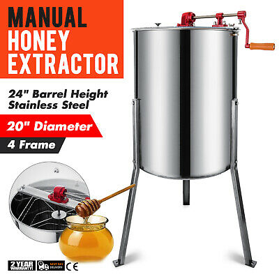 """Four 4 Frame Honey Extractor Stainless Steel 124L Equipment 24"""" Height Pro"""