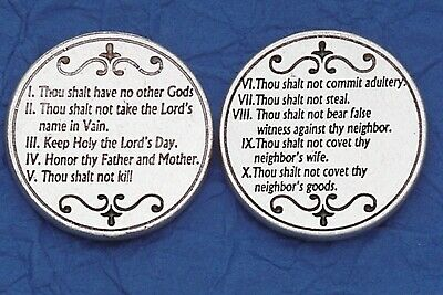 Ten 10 Commandments Religious Prayer Pocket Token Italian Coin
