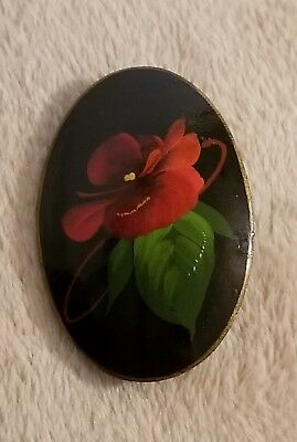 Handpainted Handmade Lacquer Lapel Pin Brooch Flower Floral Red