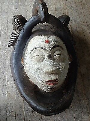 Vintage, Antique African Punu Mask with Bird at Top