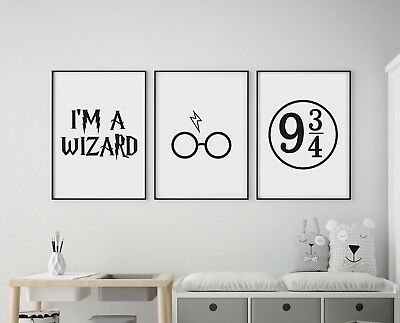 Set of 3 Harry Potter Inspired Kids Room Wall Art Poster Picture Prints Wizard