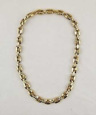 Vintage St. John gold tone faceted industrial link statement chain necklace