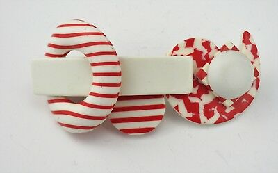 Fun Vintage Modern Lucite white red geometric layered hair barrette pin France