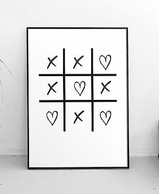 Hearts and Crosses Modern Art Prints Black & White Typography Decor A3 Poster