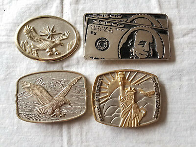 Lot Of 4 Vintage Eagle Statue Of Liberty 100$ Bill Belt Buckles