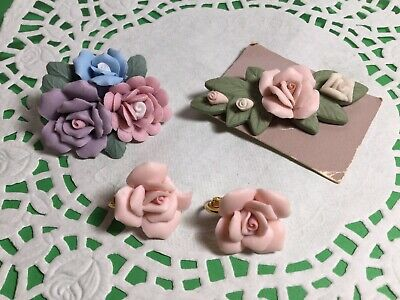Pair Of Vintage Porcelain Roses Pins Brooches