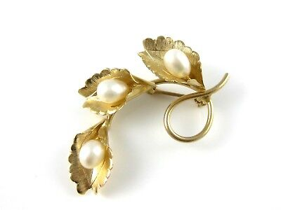 Vintage 14K Yellow Gold Three Pearl Leaf Brooch Pin