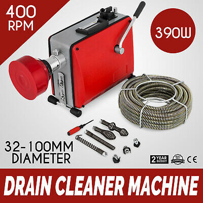 32mm-100mm 390W Electric Drain Pipe Cleaning Machine 6mx9mm 12.5mx16mm Spirals