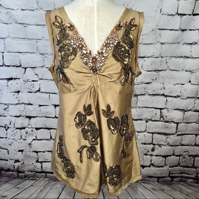 072297fa9fe2e Tracy Reese New York Tan Gold Silk Beaded Sequin Jewel Formal Top Blouse  Size M
