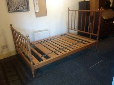 "French Pine Bed Frame Vintage / Antique with Brass / Ceramic Coasters 46"" x 72"""