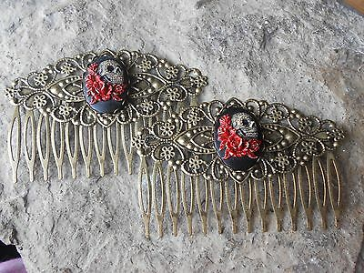 GOTH PAIR OF HAND PAINTED SKULL AND ROSES CAMEO BLACK FILIGREE HAIR COMBS