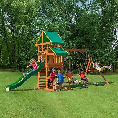 77b936324d8d Backyard Discovery Swing Set Tucson Cedar Wooden Outdoor Playground Playset  Kids