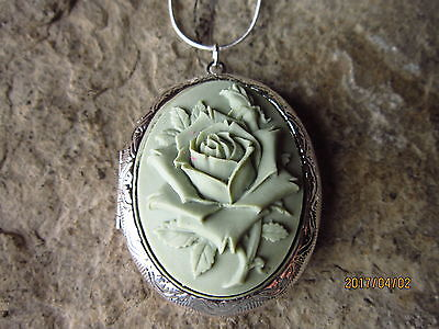 Sage Green Rose Cameo Silver Plated Locket - Unique - Wedding