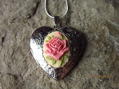 Pink Rose On Tan Cameo Silver Plated Heart Locket - Unique, Handmade