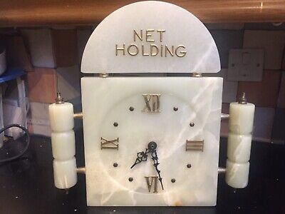 "Vintage, Pretty Unique Marble ""Net Holding"" Clock with Working Pendulum Movement"